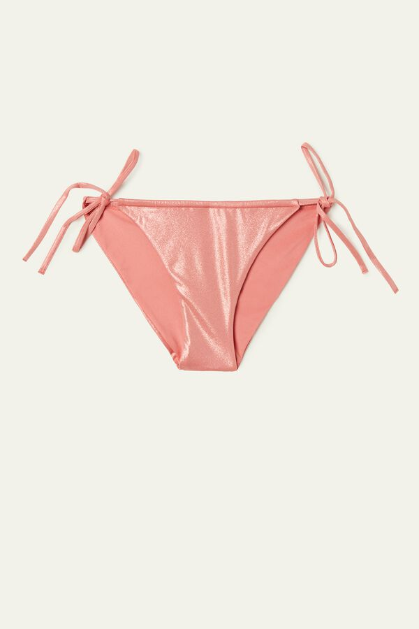 Shiny Nude Bikini Bottoms with Laces