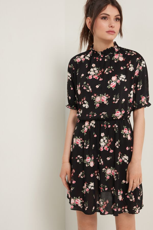 Short Sleeve Canvas Dress with Polo Neck