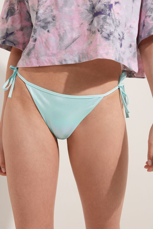 Glossy Bikini Bottoms with Ties
