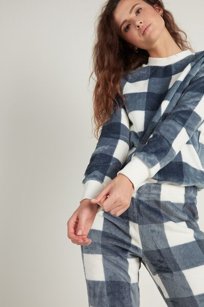 Long Fleece Plaid Pajamas
