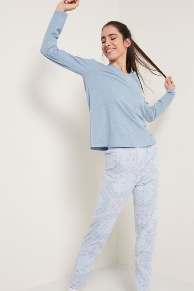 Paisley Print Long Cotton Pyjamas