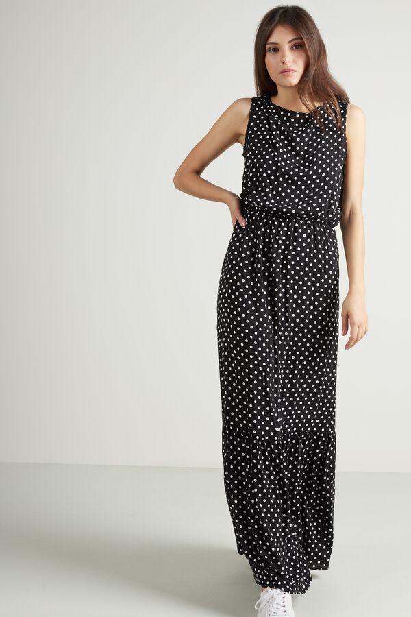 Long Flounced Sleeveless Dress
