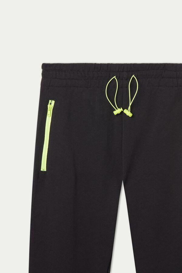 Pantalon Long en Molleton et Zip Contraste de Couleur