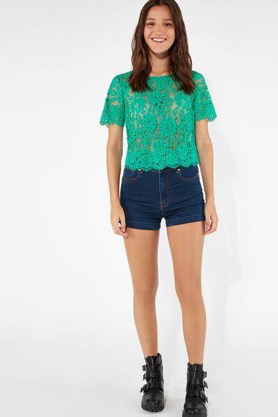 Basic Denim Shorts with Turn-Ups