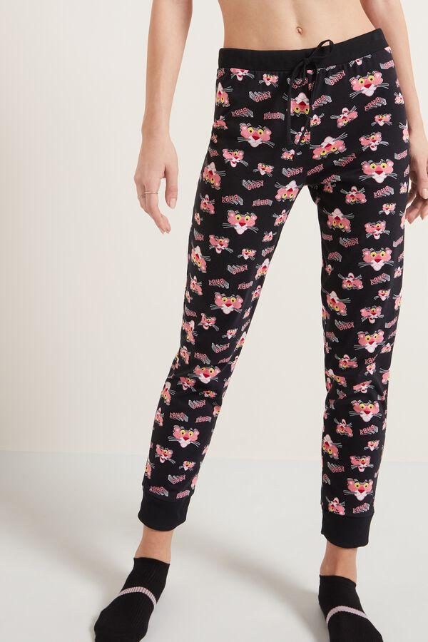 Dlouhé Teplákové Kalhoty s Potiskem Růžového Pantera