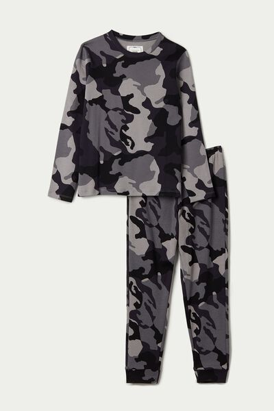 Boy's Long Camo Print Pyjamas