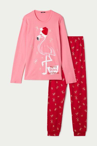 Длинная Пижама из Хлопка с Нашивкой «Фламинго»