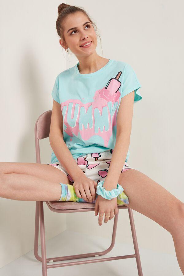"Short Cotton Pyjamas with Short Kimono Sleeve and ""Yummy"" Print"