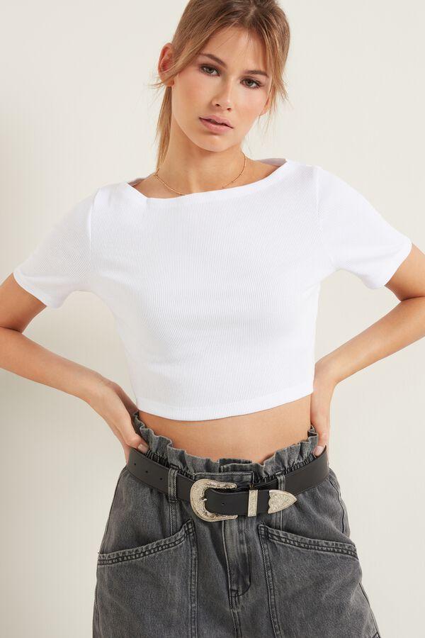 Short Sleeve, Ribbed Cotton Short Top