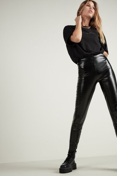 Faux Crocodile Leather Thermal Leggings