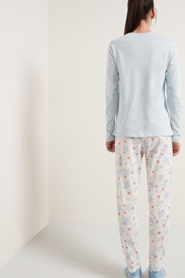 Long Cotton Star Print Pajamas