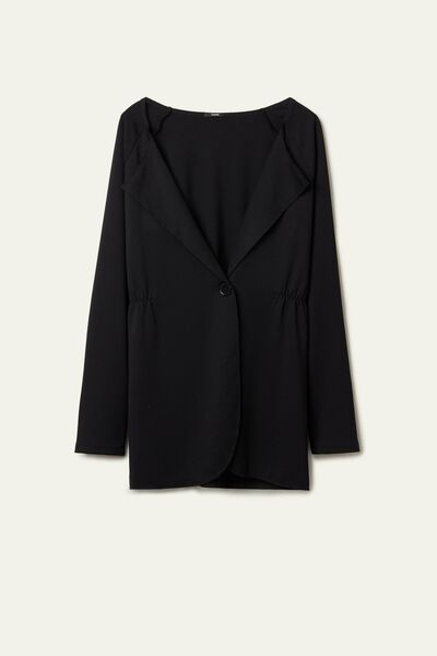 Single-Button Viscose Blazer