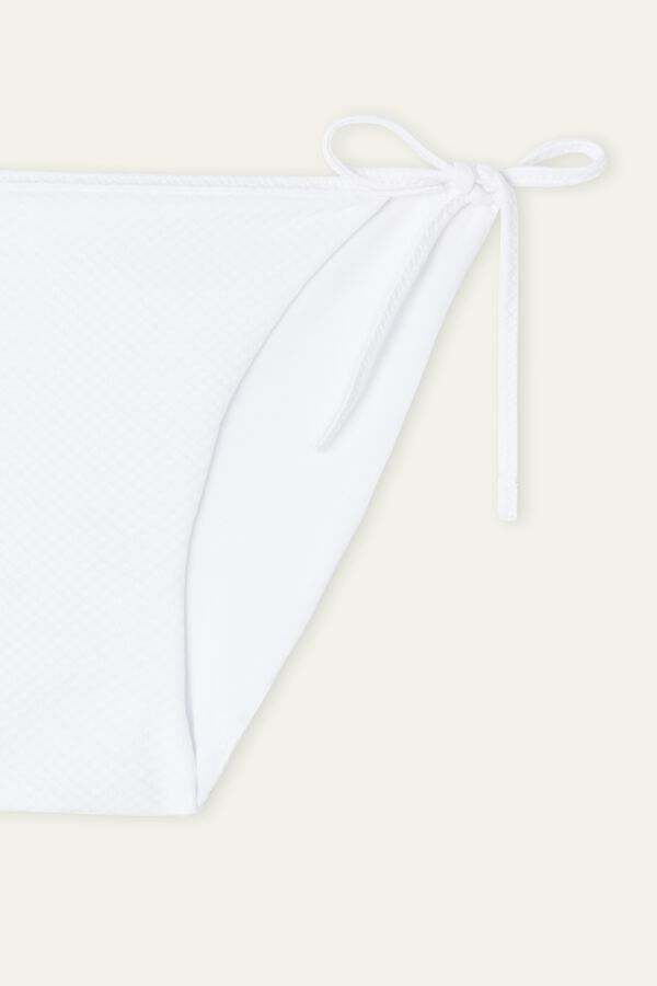 White 3D Bikini Bottoms with Ties