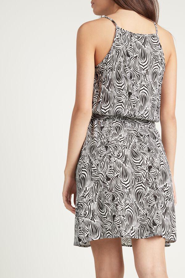 Short Square-Neck Dress with Sash