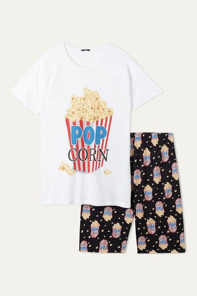 """Kurzer Pyjama für Herren mit """"Pop Corn"""" Print"""