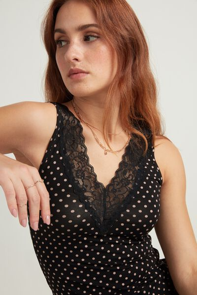 Reversible V-Neck Camisole with Lace