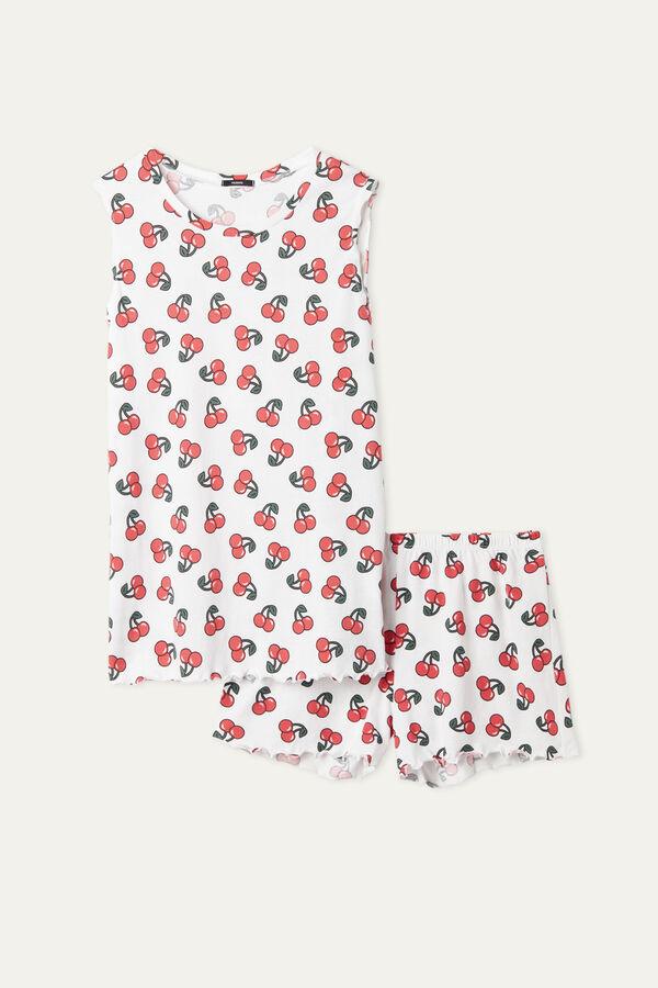 Cherry Print Short Pyjamas with Rolled Hem