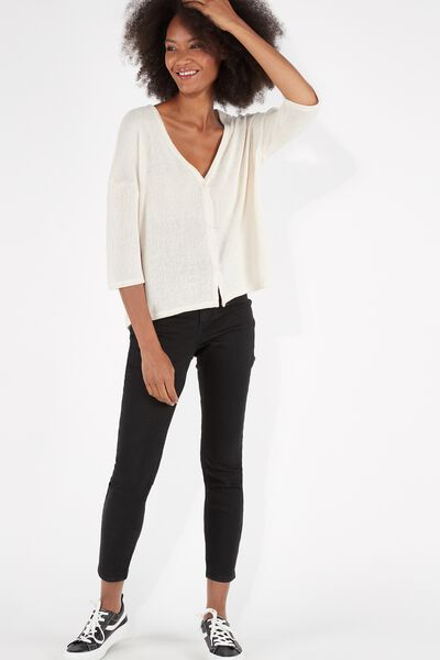 Short-Sleeved Jersey Crêpe Cardigan