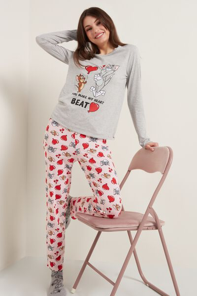 Langer Pyjama mit Tom and Jerry Print Heartbeat