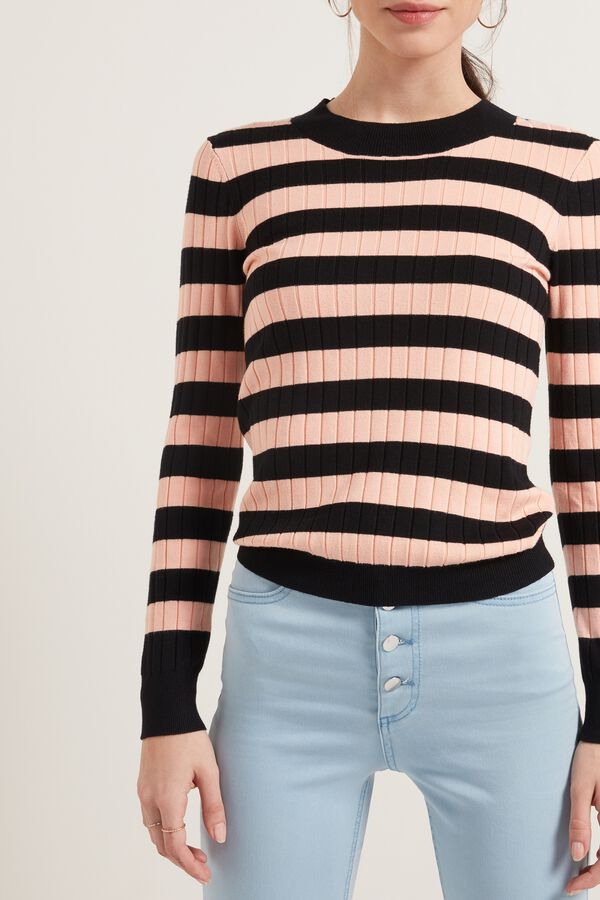 Striped Long-Sleeve Ribbed Sweater