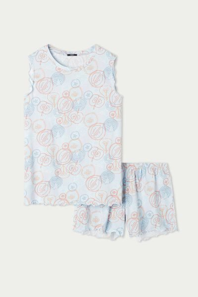 Krótka Piżama Bez Rękawów Wykonana z Bawełny z Falistym Obszyciem