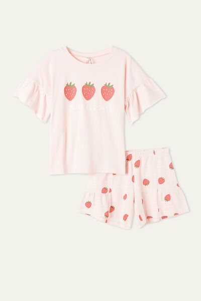 Girls' Strawberry Print Short Pyjamas with Frill