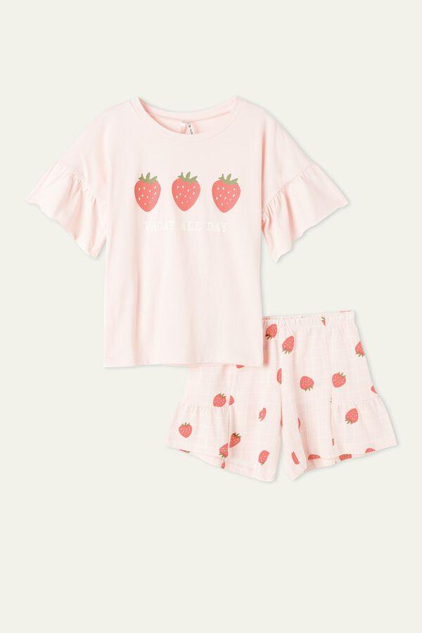 Girls' Strawberry Print Short Pyjamas with Frill