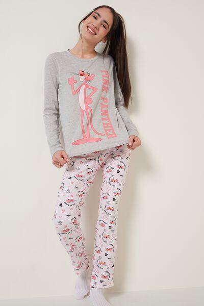 Pink/Grey Pink Panther Print Long Cotton Pyjamas