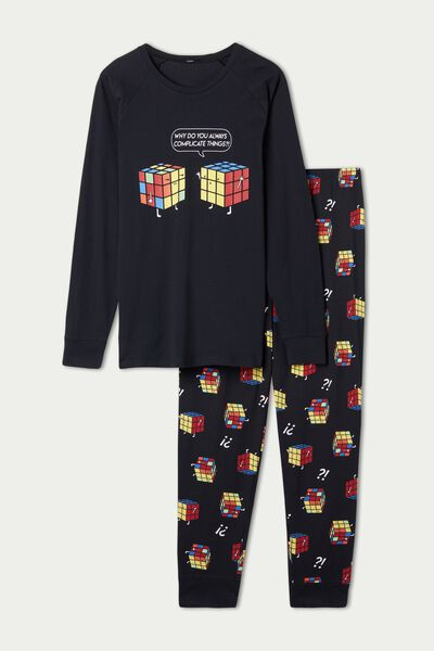 Men's Cube Print Long Cotton Pyjamas