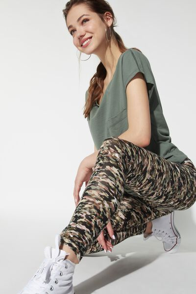 High Rise Printed Cotton Leggings