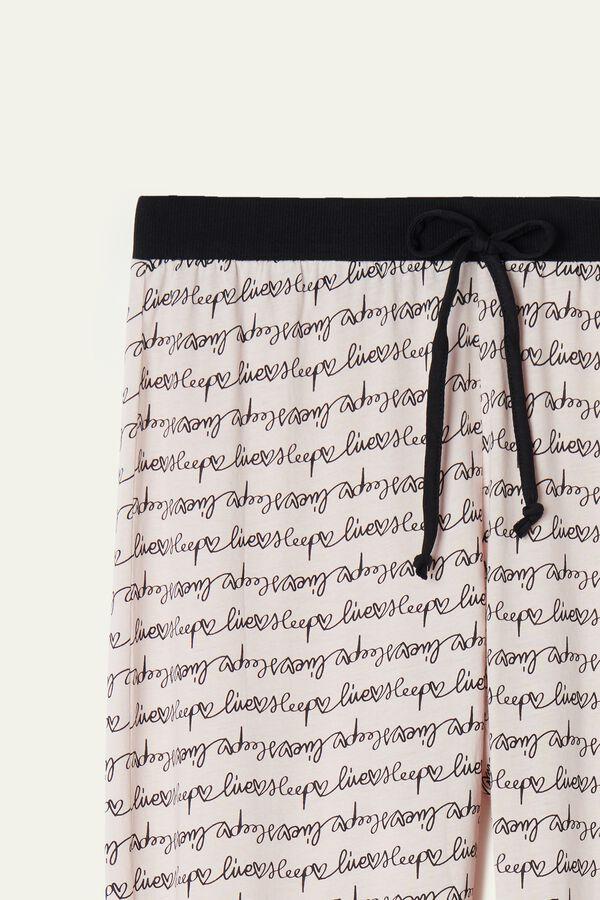 Long Printed Cotton Drawstring Trousers