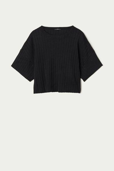 Geripptes Cropped Shirt mit halblangem Ärmel