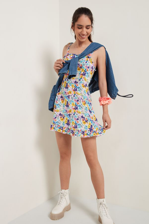 Canvas Dress with Ruched Neckline