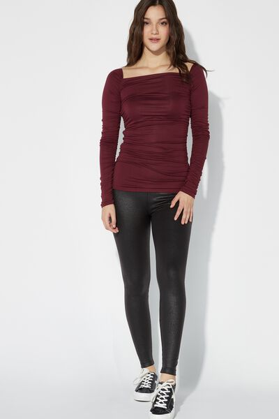 Leggings in similpelle termica