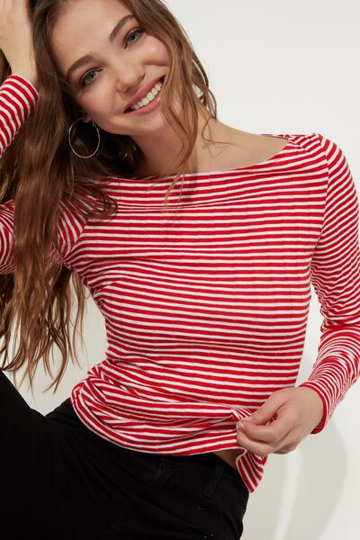 Long-Sleeved Jersey with Boat Neckline