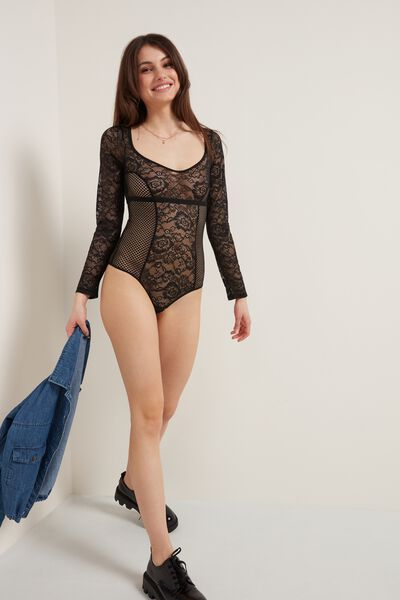 Pearl Net Long-Sleeve Bodysuit