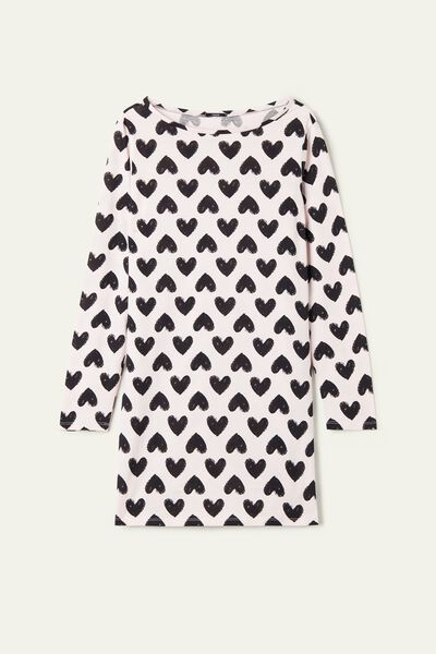 Long-Sleeve Cotton Nightgown with Heart Print