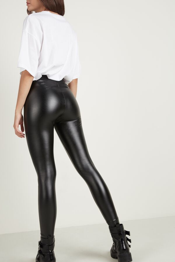 Thermal Faux Leather Leggings