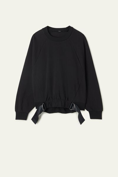 Long-Sleeved Cropped Sweatshirt with Detail