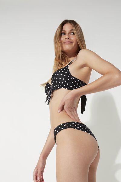 Polka Dot and Stripes Padded Balconette Bikini Top