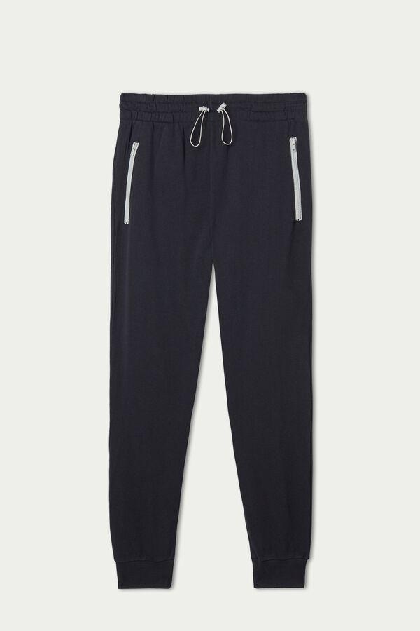 Long Fleece Pants with Contrast Color Zipper