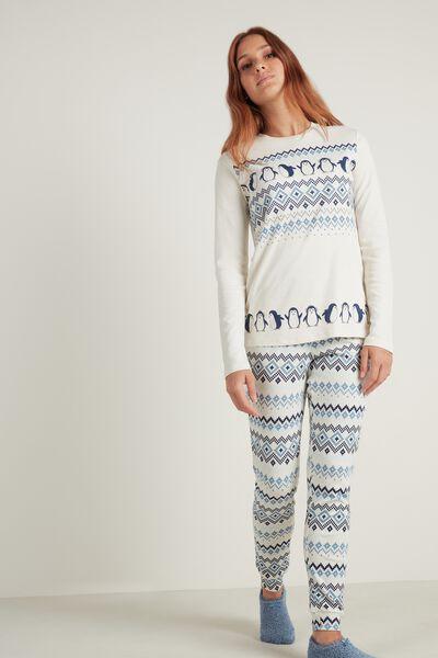 Pijama Largo de Algodón Estampado Nórdico Pingüinos