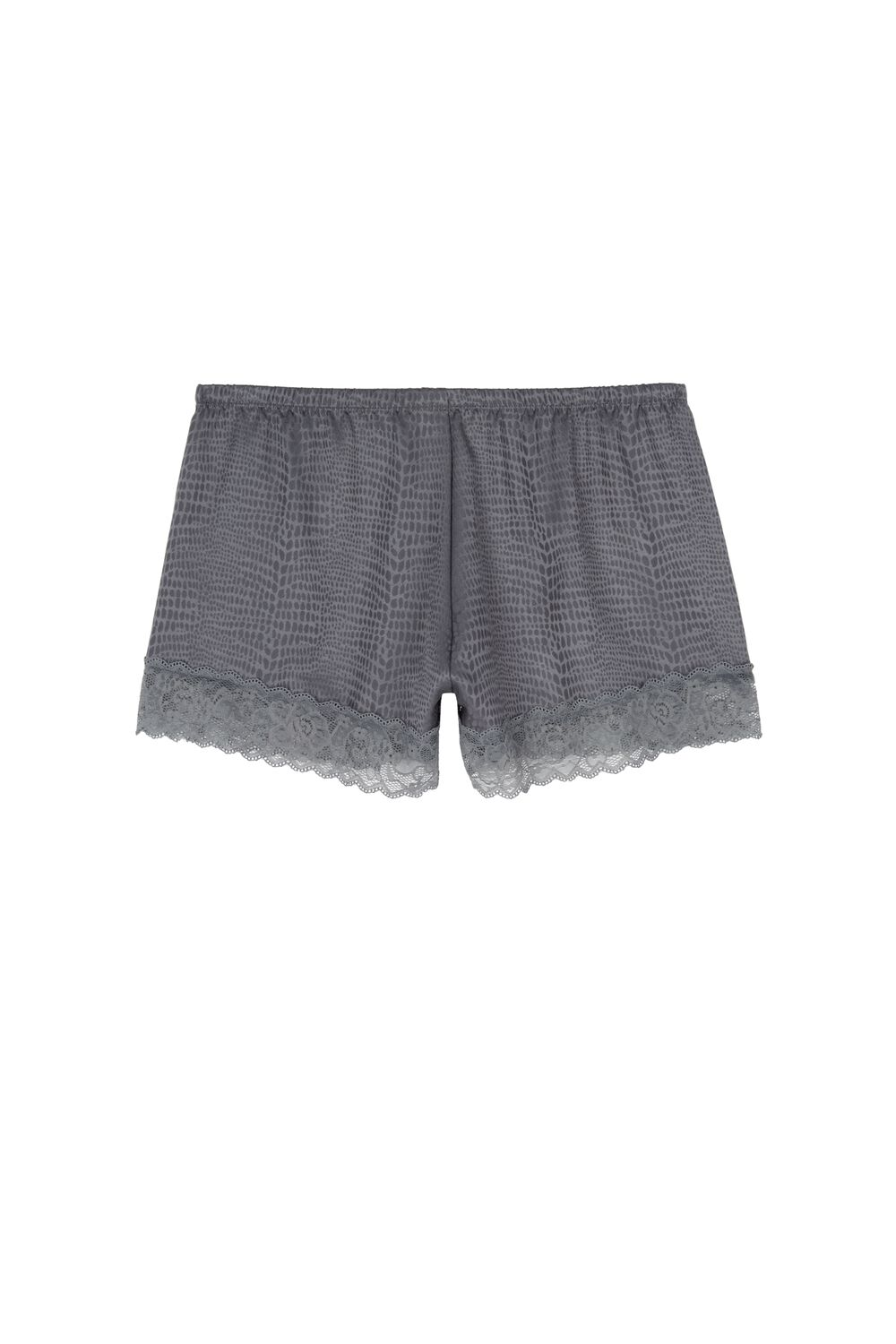 Lace and Satin Snakeskin Look Textured Shorts