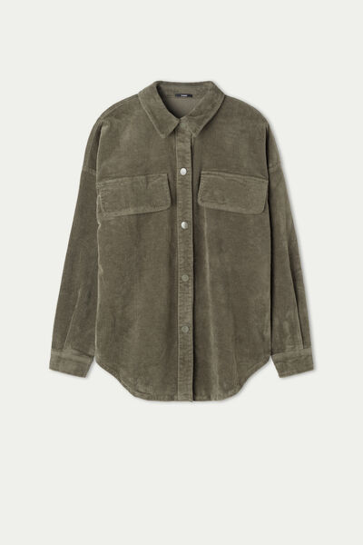 Chemise à Manches Longues en Velours Milleraies Oversize