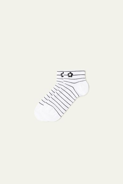 Appliquéd Patterned Cotton No-Show Socks
