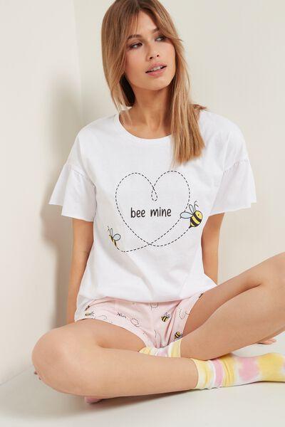 "Kurzer Pyjama aus Bio-Baumwolle mit ""Bee Mine"" Print"