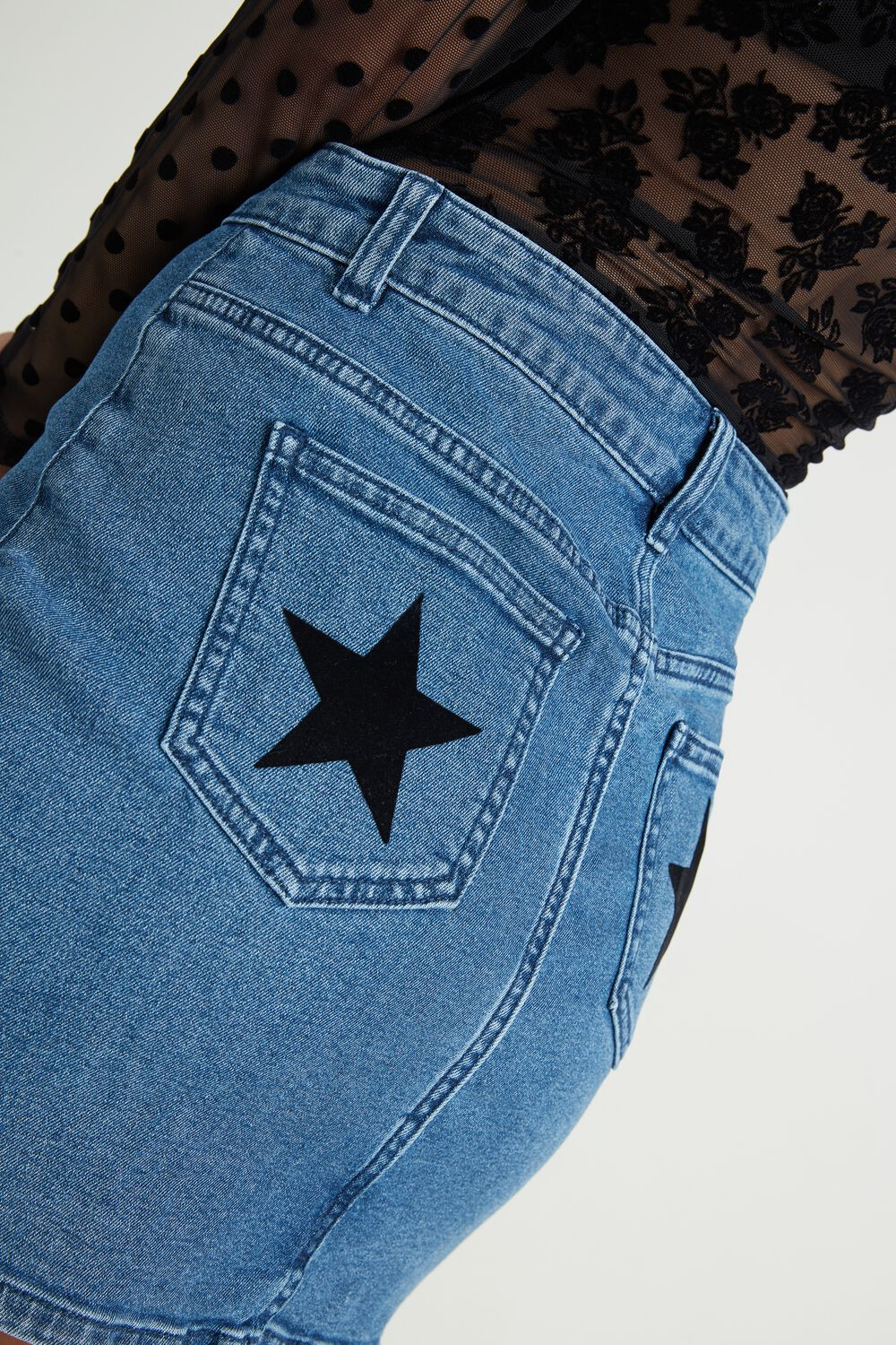 Denim Skirt with Flocked Stars