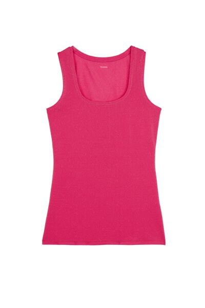 Wide Shoulder Tank Top in Stretch Cotton