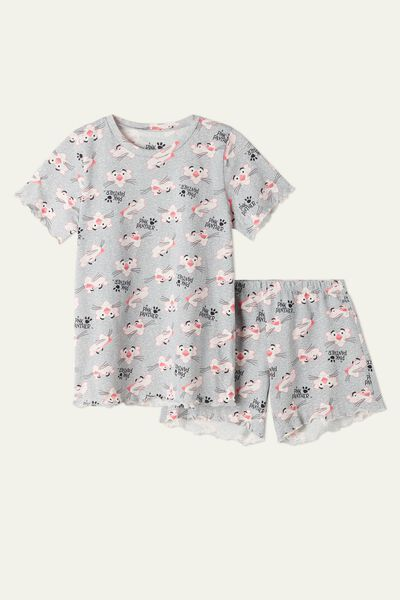 Krátke Bavlnené Šedé Pyžamo Ružový Panter