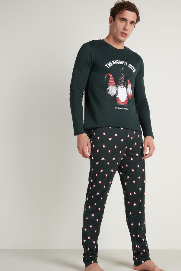 Mens Gnome Print Long Pajamas